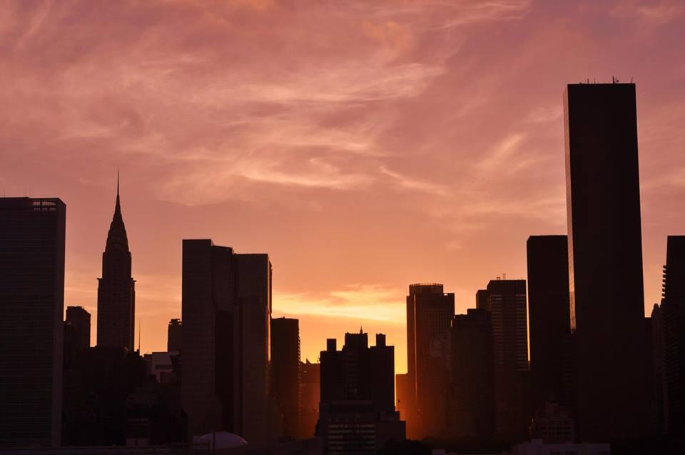 sunset chrysler building